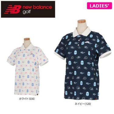 ニューバランスゴルフ レディース 鹿の子 総柄 モノグラムプリント 半袖 ポロシャツ 012-9160506 2019年モデル
