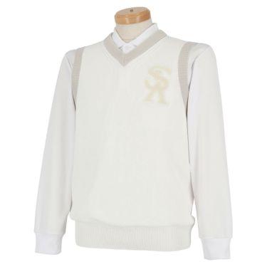 セントアンドリュース St ANDREWS メンズ ワッペン Vネック ニット ベスト 042-9273851 2019年モデル ホワイト(030)