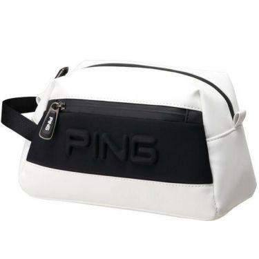ピン PING エンボスロゴ メンズ ラウンドポーチ GB-C193 34860-01 WHITE/BLACK