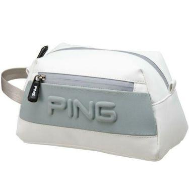 ピン PING エンボスロゴ メンズ ラウンドポーチ GB-C193 34860-02 WHITE/GREY