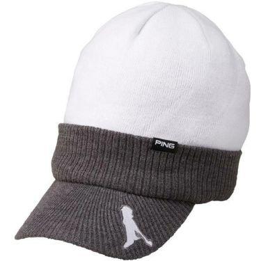 ピン PING ユニセックス BRIMKNIT CAP つば付きニットキャップ HW-U193 34877-01 WHITE/GREY