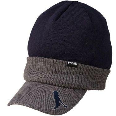 ピン PING ユニセックス BRIMKNIT CAP つば付きニットキャップ HW-U193 34877-02 NAVY/GREY