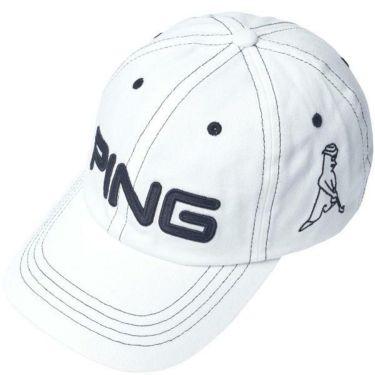 ピン PING メンズ コットン アンストラクチャー 6パネル Mr.PING キャップ 33956-01 WHITE/BLACK