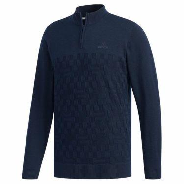 アディダス adidas メンズ 格子編み ロゴ刺繍 長袖 ハーフジップ セーター FYO85 2019年モデル 商品詳細3