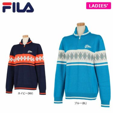 フィラ FILA レディース ダイヤ柄 長袖 ショールカラー ハーフジップ セーター 799-701 2019年モデル 詳細1