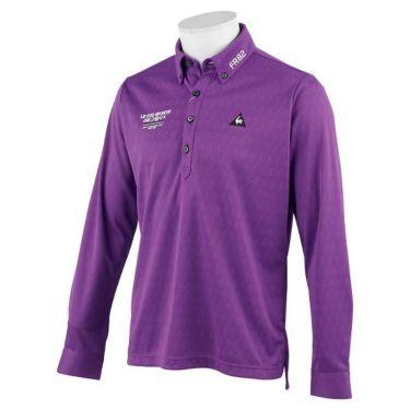 ルコック Le coq sportif メンズ ロゴ刺繍 ジャガード 長袖 ボタンダウン ポロシャツ QGMOJB02 2019年モデル パープル