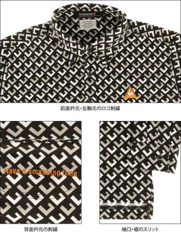 ルコック Le coq sportif メンズ タイポグラフィー柄 長袖 ボタンダウン ポロシャツ QGMOJB06 2019年モデル 商品詳細8