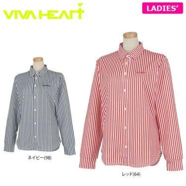 ビバハート VIVA HEART レディース ストライプ 長袖 ポロシャツ 012-21914