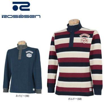 ロサーセン Rosasen メンズ 鹿の子 ロゴ刺繍 ワッペン 配色切替 長袖 ポロシャツ 044-21811 2019年モデル