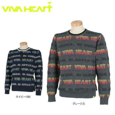 ビバハート VIVA HEART メンズ ロゴボーダー 長袖 クルーネック セーター 011-11010