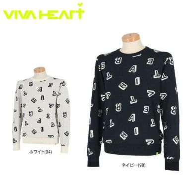 ビバハート VIVA HEART メンズ ランダムロゴ 長袖 クルーネック セーター 011-11011