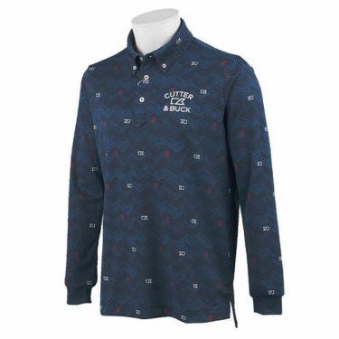 カッター&バック CUTTER&BUCK メンズ 総柄プリント 長袖 ボタンダウン ポロシャツ CGMOJB05 2019年モデル ネイビー(NV00)