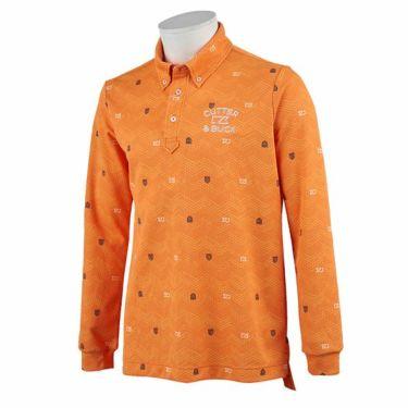 カッター&バック CUTTER&BUCK メンズ 総柄プリント 長袖 ボタンダウン ポロシャツ CGMOJB05 2019年モデル オレンジ(OR00)