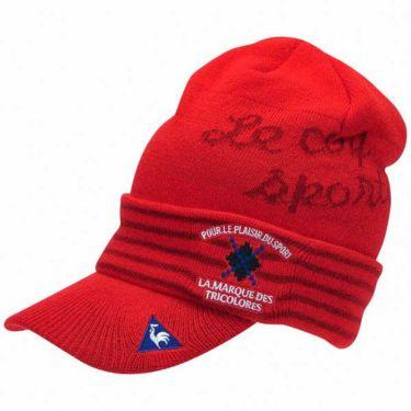 ルコック Le coq sportif メンズ ロゴ刺繍 ツバ付き ニットキャップ QGBOJC06 RD00 レッド 商品詳細2