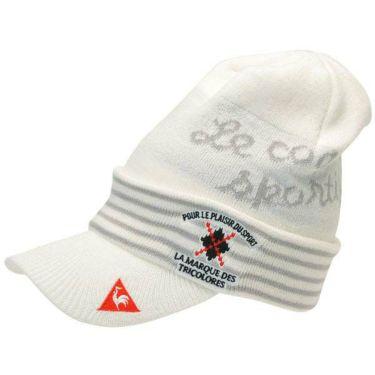 ルコック Le coq sportif メンズ ロゴ刺繍 ツバ付き ニットキャップ QGBOJC06 WH00 ホワイト 商品詳細2