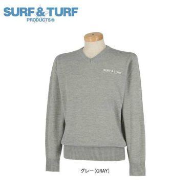 サーフ&ターフ  SURF&TURF メンズ ロゴ刺繍 長袖 Vネック セーター 9FW-STF5 グレー(GRAY)