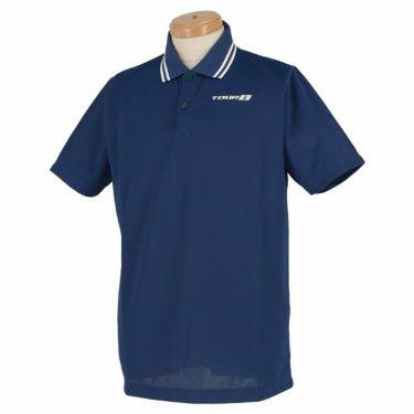 ブリヂストンゴルフ TOUR B メンズ ロゴ刺繍 メッシュ生地 半袖 ポロシャツ NGM01A 2019年モデル ネイビー(NA)