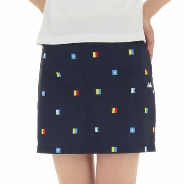 【ss特価】△カッパ Kappa レディース 総柄 撥水 ストレッチ スカート KG922SK74 2019年モデル ネイビー(NV)