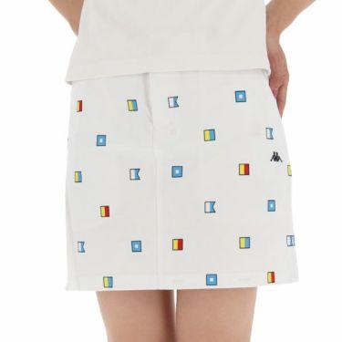 【ss特価】△カッパ Kappa レディース 総柄 撥水 ストレッチ スカート KG922SK74 2019年モデル ホワイト(WT)