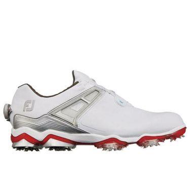 フットジョイ ツアーX ボア メンズ ソフトスパイク ゴルフシューズ 55411 ホワイト+レッド
