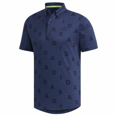 【ss特価】△アディダス adidas メンズ 総柄 モノグラムプリント 半袖 ボタンダウン ポロシャツ GLD29 2020年モデル カレッジネイビー(FN0884)
