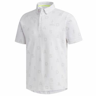 【ss特価】△アディダス adidas メンズ 総柄 モノグラムプリント 半袖 ボタンダウン ポロシャツ GLD29 2020年モデル ホワイト(FJ4418)