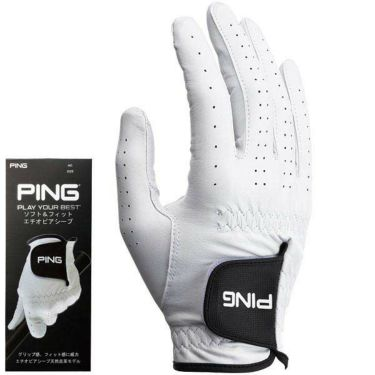 ピン PING メンズ ソフト&フィット 天然皮革 右手用 ゴルフグローブ GL-P201 35074 White 2020年モデル