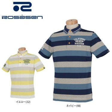 ロサーセン Rosasen メンズ タック編み ボーダー柄 ロゴ刺繍 半袖 ポロシャツ 044-22243 2020年モデル