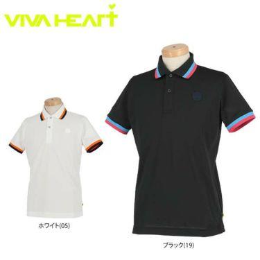 ビバハート VIVA HEART メンズ 鹿の子 ライン使い シリコンワッペン 半袖 ポロシャツ 011-22340 2020年モデル
