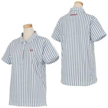 ビバハート VIVA HEART レディース 鹿の子 ストライプ柄 ロゴ刺繍 半袖 ポロシャツ 012-22445 2020年モデル 商品詳細5
