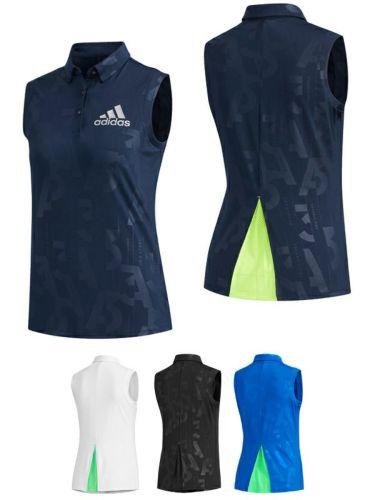 アディダス adidas レディース エンボスプリント 総柄 ノースリーブ ボタンダウン ポロシャツ GKI62 2020年モデル 詳細3