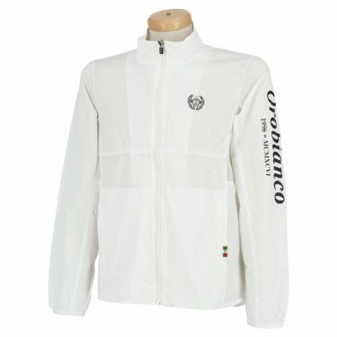 オロビアンコ Orobianco メンズ ロゴプリント メッシュ切替 長袖 フルジップ ブルゾン 45412-102 2020年モデル ホワイト(01)