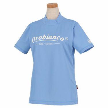 オロビアンコ Orobianco レディース ロゴプリント 鹿の子 半袖 ハイネックシャツ 46570-251 2020年モデル サックス(53)
