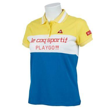 ルコック Le coq sportif レディース 鹿の子 ロゴプリント 配色切替 半袖 ポロシャツ QGWPJA03 2020年モデル イエロー(YL00)