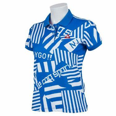 ルコック Le coq sportif レディース 鹿の子 ロゴ刺繍 総柄プリント 半袖 ポロシャツ QGWPJA05 2020年モデル ブルー(BL00)