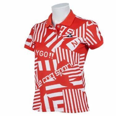 ルコック Le coq sportif レディース 鹿の子 ロゴ刺繍 総柄プリント 半袖 ポロシャツ QGWPJA05 2020年モデル レッド(RD00)