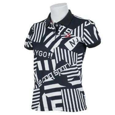 ルコック Le coq sportif レディース 鹿の子 ロゴ刺繍 総柄プリント 半袖 ポロシャツ QGWPJA05 2020年モデル ネイビー(NV00)