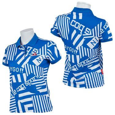 ルコック Le coq sportif レディース 鹿の子 ロゴ刺繍 総柄プリント 半袖 ポロシャツ QGWPJA05 2020年モデル 詳細3