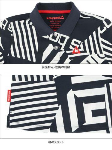 ルコック Le coq sportif レディース 鹿の子 ロゴ刺繍 総柄プリント 半袖 ポロシャツ QGWPJA05 2020年モデル 詳細4