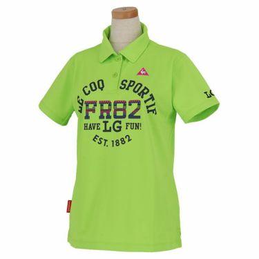 ルコック Le coq sportif レディース 鹿の子 ロゴ刺繍 エスニック柄プリント 半袖 ポロシャツ QGWPJA10 2020年モデル グリーン(GR00)