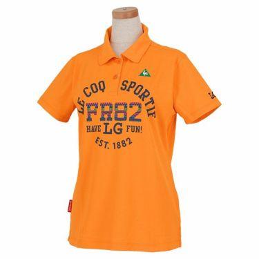 ルコック Le coq sportif レディース 鹿の子 ロゴ刺繍 エスニック柄プリント 半袖 ポロシャツ QGWPJA10 2020年モデル オレンジ(OR00)