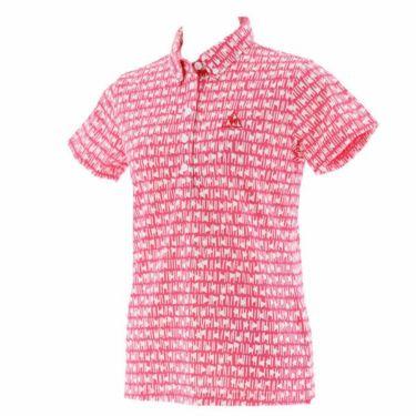 【ss特価】△ルコック Le coq sportif レディース 総柄 フラッグプリント 半袖 ボタンダウン ポロシャツ QGWPJA14 2020年モデル ピンク(PK00)