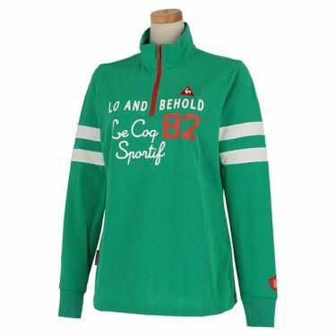 【ss特価】△ルコック Le coq sportif レディース プリントデザイン 袖ライン 長袖 ハーフジップシャツ QGWPJB02 2020年モデル グリーン(GR00)