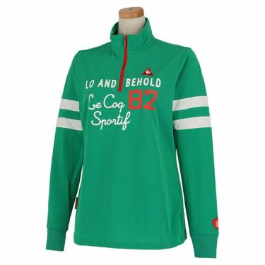 ルコック Le coq sportif レディース プリントデザイン 袖ライン 長袖 ハーフジップシャツ QGWPJB02 2020年モデル グリーン(GR00)