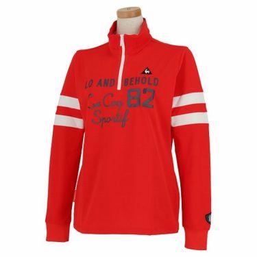 ルコック Le coq sportif レディース プリントデザイン 袖ライン 長袖 ハーフジップシャツ QGWPJB02 2020年モデル レッド(RD00)