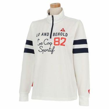 ルコック Le coq sportif レディース プリントデザイン 袖ライン 長袖 ハーフジップシャツ QGWPJB02 2020年モデル ホワイト(WH00)