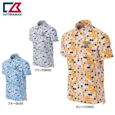 カッター&バック CUTTER&BUCK メンズ ロゴ刺繍 ブロック柄 半袖 ボタンダウン ポロシャツ CGMPJA36 2020年モデル 詳細1