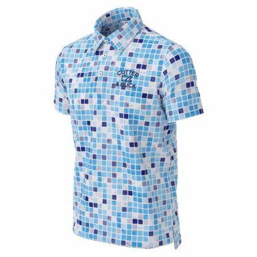 カッター&バック CUTTER&BUCK メンズ ロゴ刺繍 ブロック柄 半袖 ボタンダウン ポロシャツ CGMPJA36 2020年モデル ブルー(BL00)