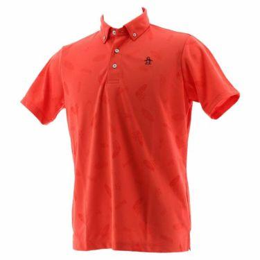 【ss特価】△マンシングウェア Munsingwear メンズ ジャガード総柄 半袖 ボタンダウン ポロシャツ MGMPJA34 2020年モデル オレンジ(OR00)