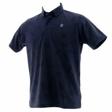 【ss特価】△マンシングウェア Munsingwear メンズ ジャガード総柄 半袖 ボタンダウン ポロシャツ MGMPJA34 2020年モデル ネイビー(NV00)